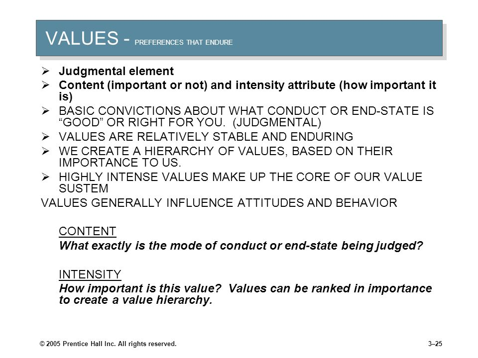 © 2005 Prentice Hall Inc. All rights reserved.3–24 VALUE SYSTEM Given below is a list of values, you are required to rank them on a scale of 1-5 where