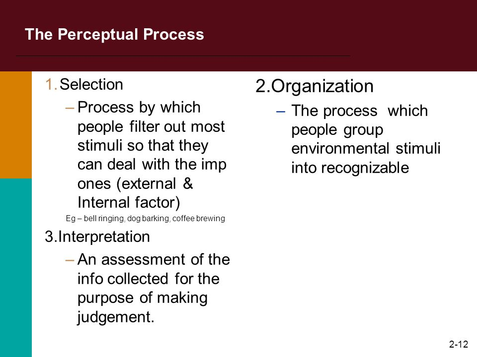 2-11 Selecting Stimuli External factors : Nature, Location,Size, contrast, Movement, repetition, similarity Internal factors : Personality, Learning,
