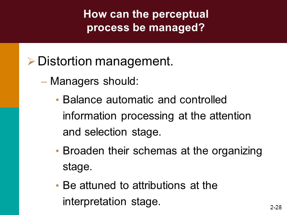 2-27 How can the perceptual process be managed? Impression management. – A persons systematic attempt to behave in ways that create and maintain desir