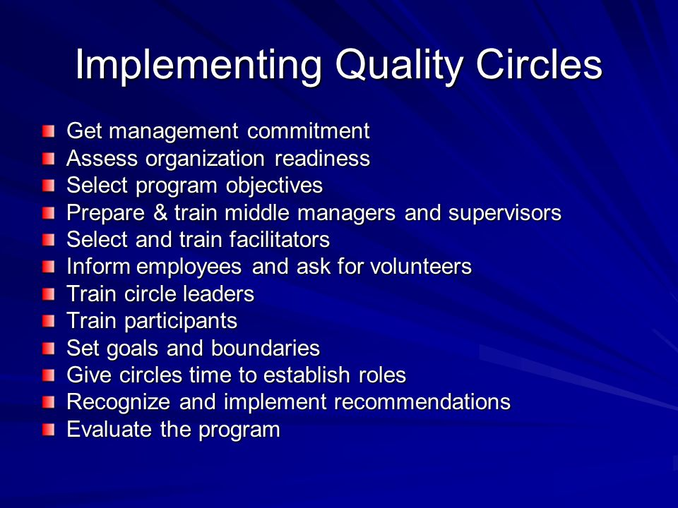 Implementing Quality Circles Get management commitment Assess organization readiness Select program objectives Prepare & train middle managers and sup