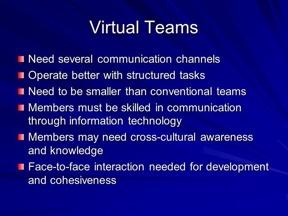Virtual Teams Need several communication channels Operate better with structured tasks Need to be smaller than conventional teams Members must be skil