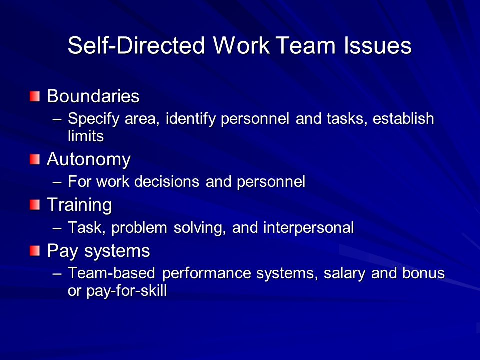 Self-Directed Work Team Issues Boundaries –Specify area, identify personnel and tasks, establish limits Autonomy –For work decisions and personnel Tra
