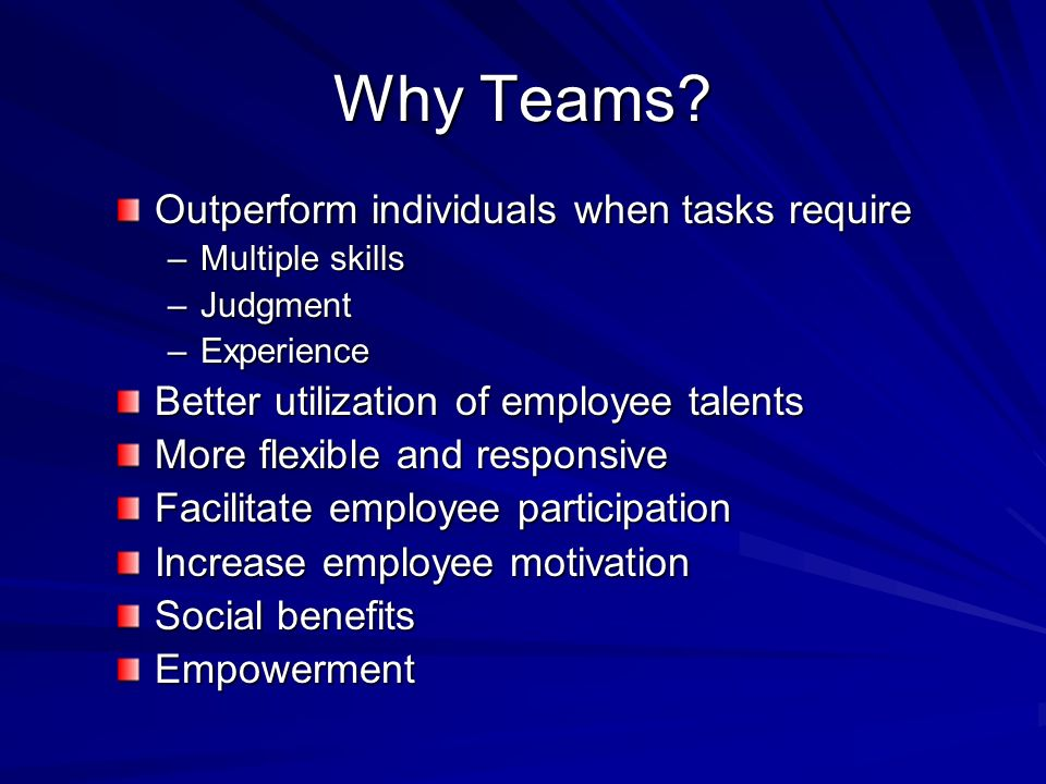 Team Design Elements Team structure –Goals & objectives –Operating guidelines –Performance measures –Roles