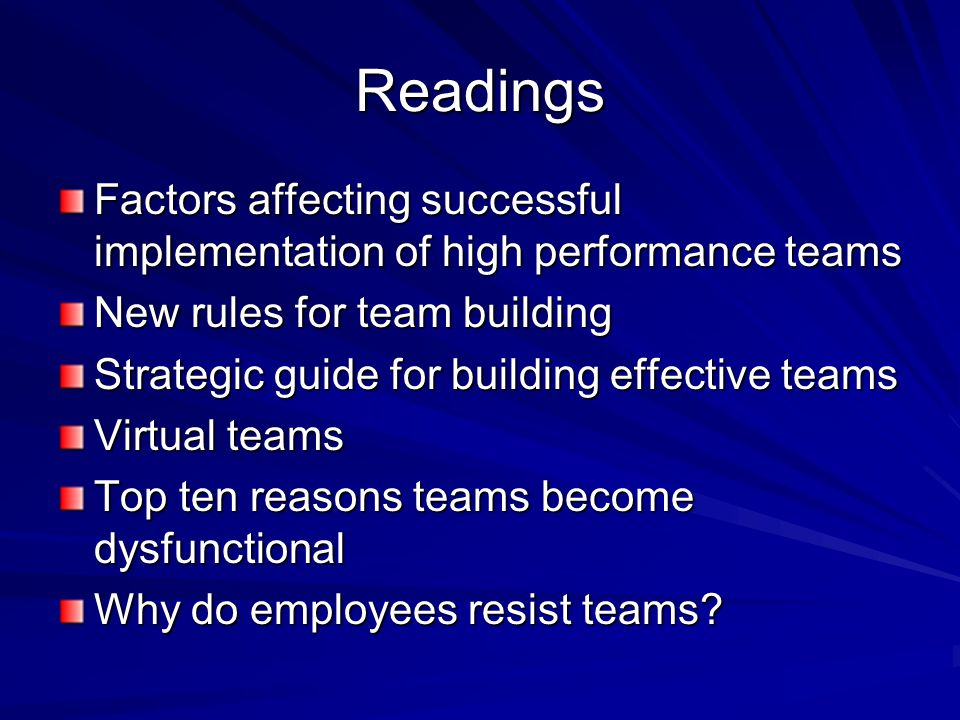 Readings Factors affecting successful implementation of high performance teams New rules for team building Strategic guide for building effective team