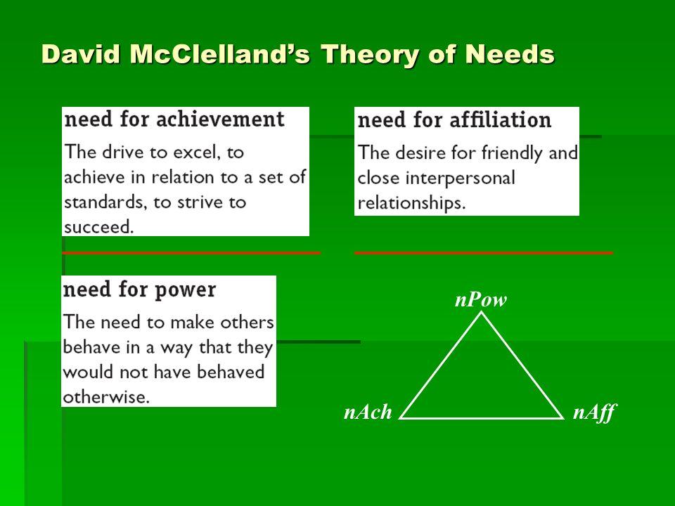 David McClellands Theory of Needs nAch nPow nAff
