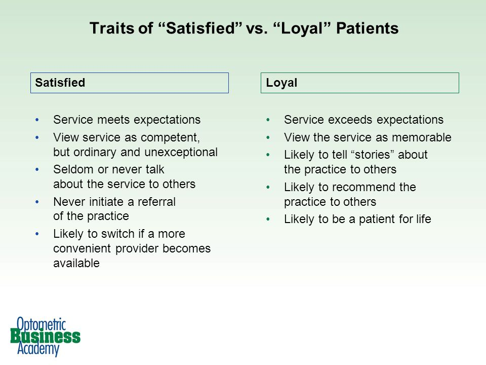 Traits of Satisfied vs. Loyal Patients Loyal Service meets expectations View service as competent, but ordinary and unexceptional Seldom or never talk