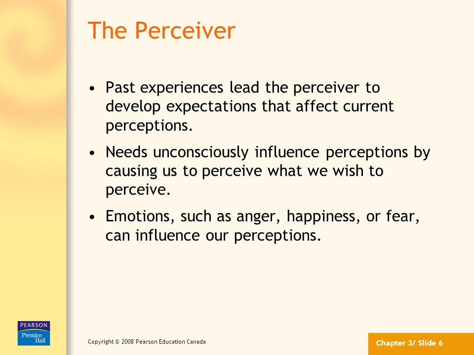 Chapter 3/ Slide 5 Copyright © 2008 Pearson Education Canada Factors that Influence Perception