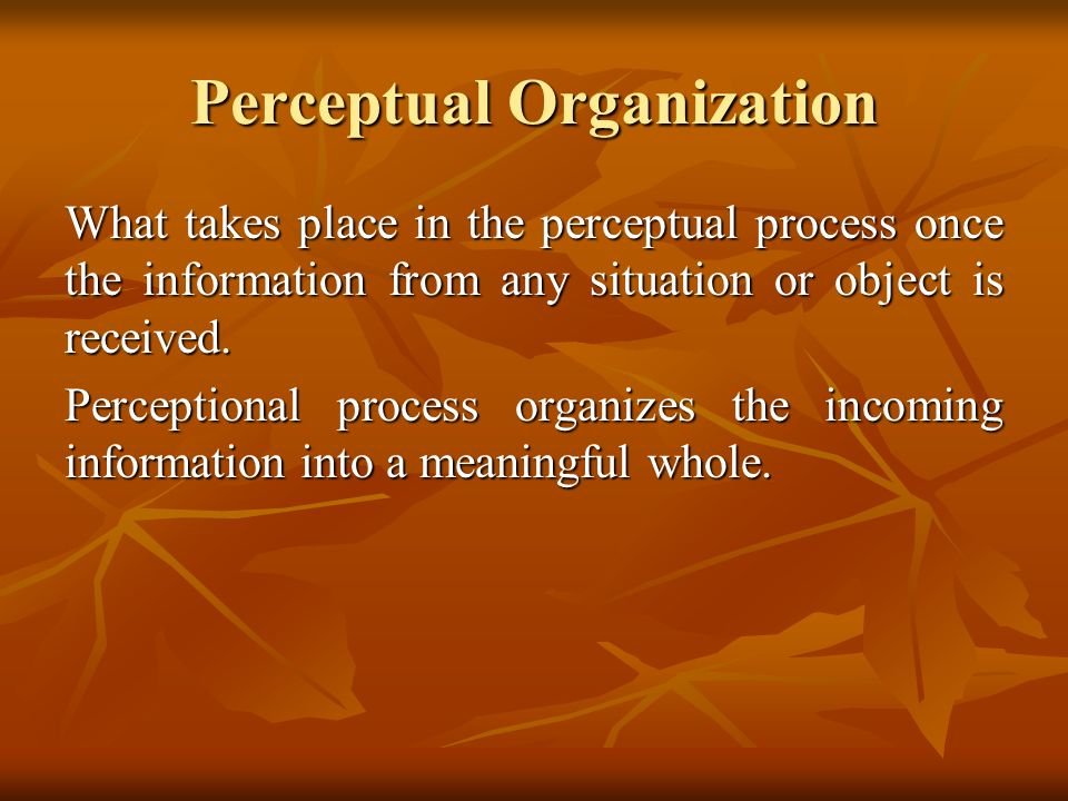 Perceptual Organization What takes place in the perceptual process once the information from any situation or object is received. Perceptional process