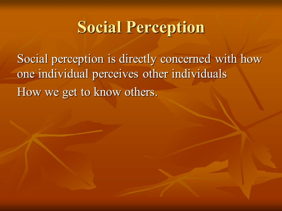 Social Perception Social perception is directly concerned with how one individual perceives other individuals How we get to know others.