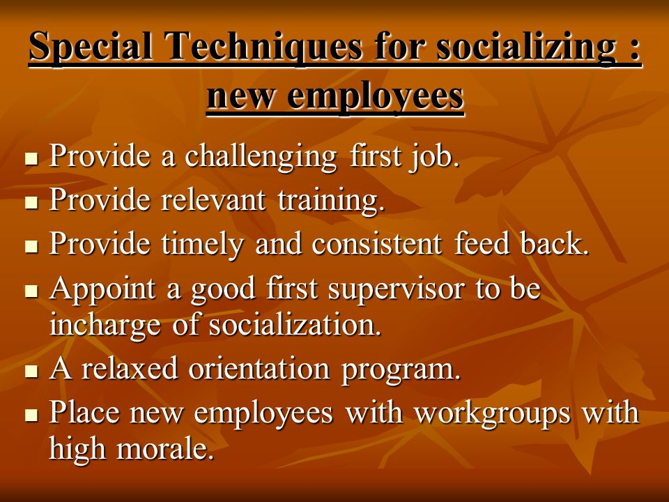 Special Techniques for socializing : new employees Provide a challenging first job. Provide a challenging first job. Provide relevant training. Provid