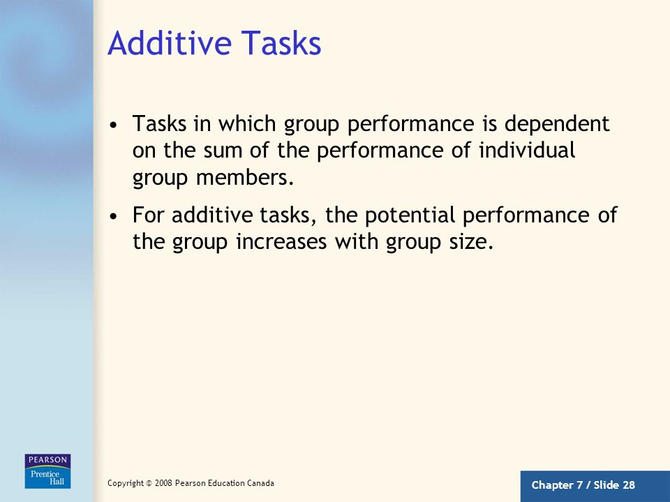 Chapter 7 / Slide 27 Copyright © 2008 Pearson Education Canada Group Size and Performance Do large groups perform tasks better than small groups? The
