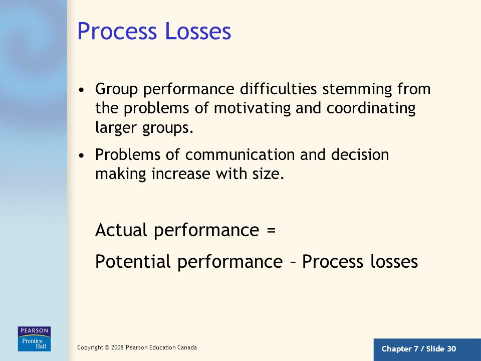 Chapter 7 / Slide 29 Copyright © 2008 Pearson Education Canada Disjunctive Tasks Tasks in which group performance is dependent on the performance of t