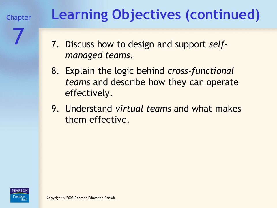 Chapter 7 / Slide 3 Copyright © 2008 Pearson Education Canada Learning Objectives (continued) 4.Review how norms, roles, and status affect social inte