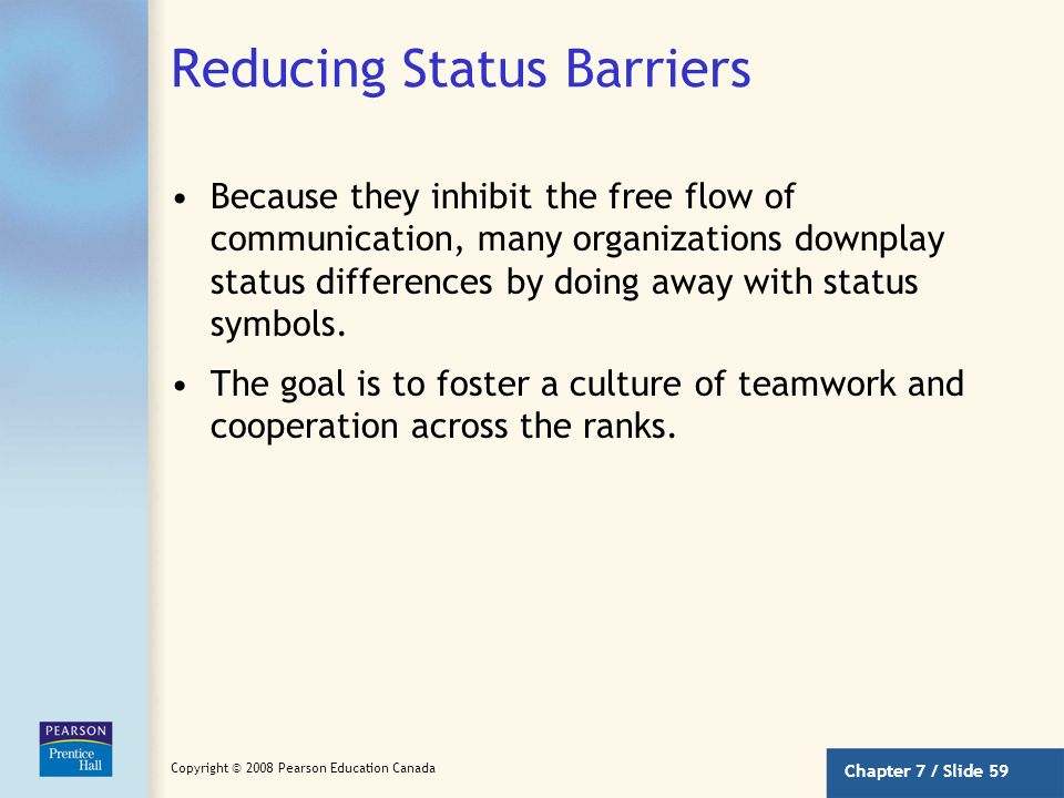 Chapter 7 / Slide 58 Copyright © 2008 Pearson Education Canada Consequences of Status Differences Most people like to communicate with others at their