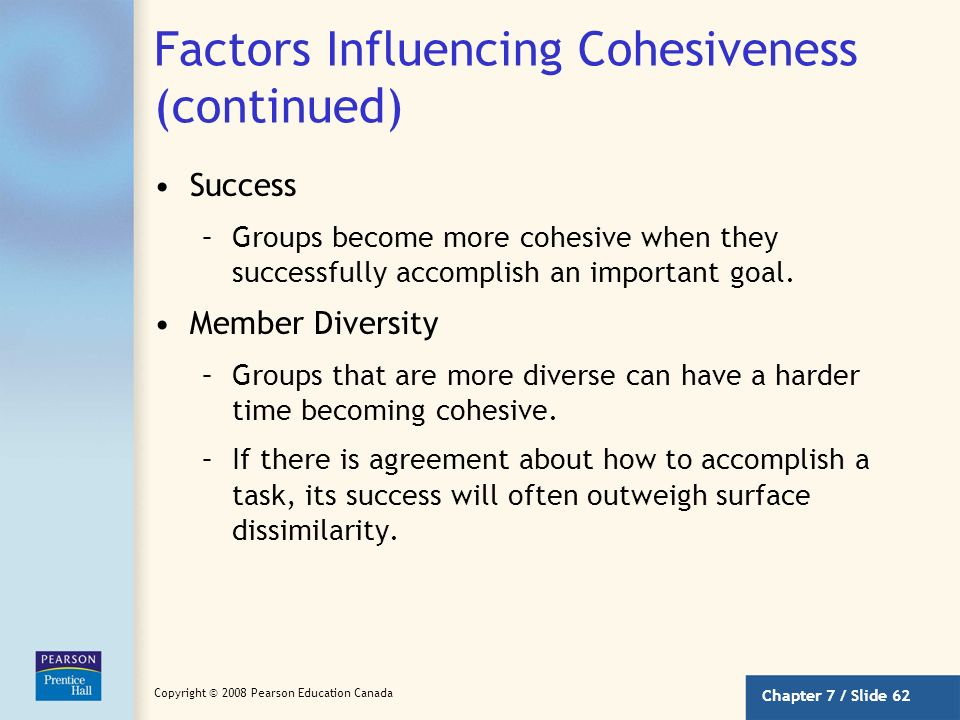 Chapter 7 / Slide 61 Copyright © 2008 Pearson Education Canada Factors Influencing Cohesiveness What makes some groups more cohesive than others? Thre
