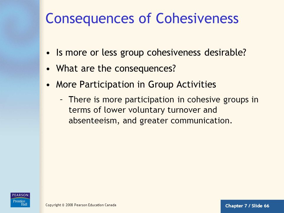 Chapter 7 / Slide 65 Copyright © 2008 Pearson Education Canada Factors Influencing Cohesiveness (continued) Toughness of Initiation –Groups that are t