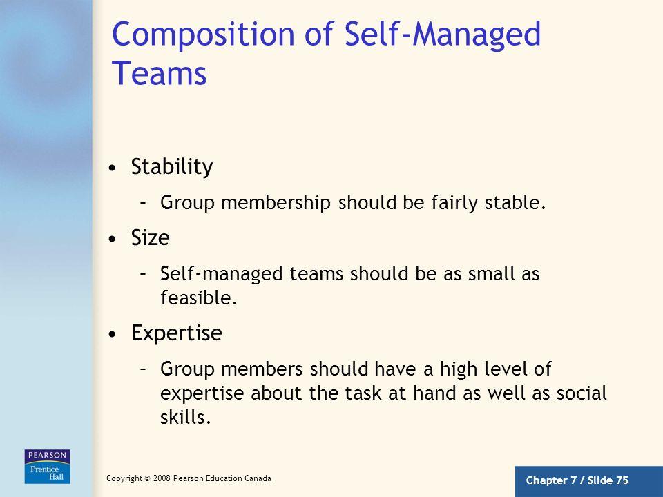 Chapter 7 / Slide 74 Copyright © 2008 Pearson Education Canada Tasks for Self-Managed Teams Tasks assigned for self-managed work teams should be compl