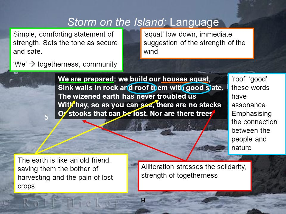 H Storm on the Island: Language We are prepared: we build our houses squat, Sink walls in rock and roof them with good slate. The wizened earth has ne