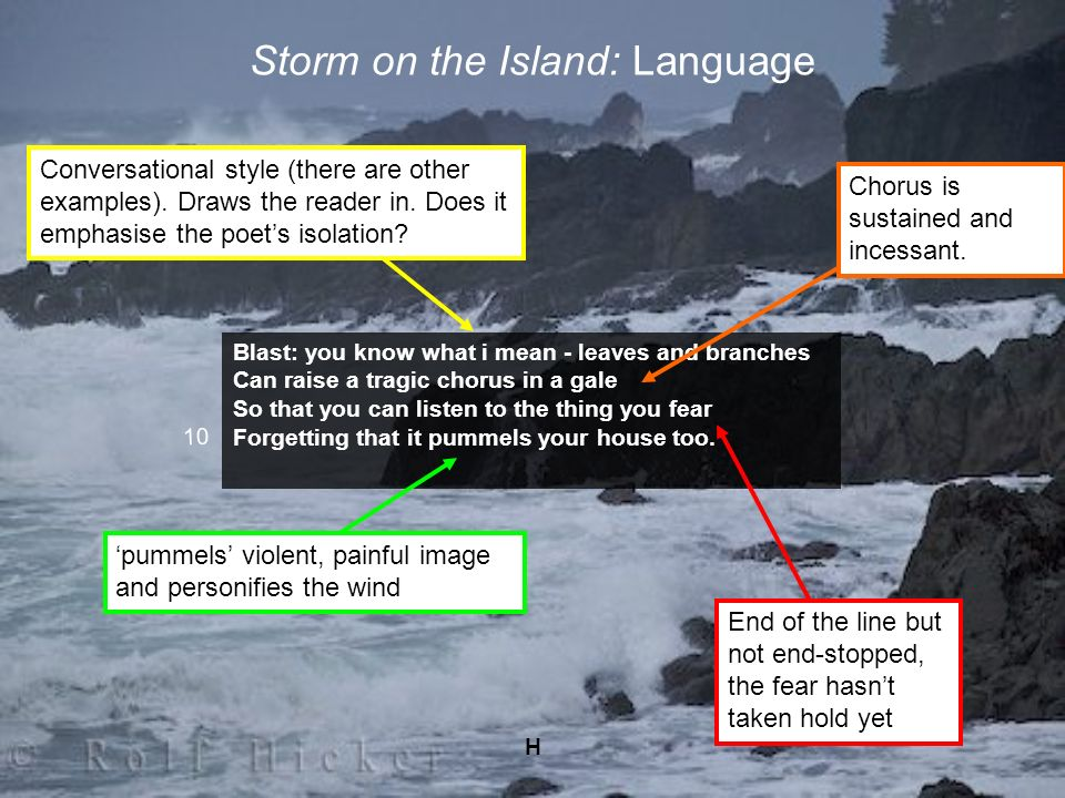 H Storm on the Island: Language Blast: you know what i mean - leaves and branches Can raise a tragic chorus in a gale So that you can listen to the th