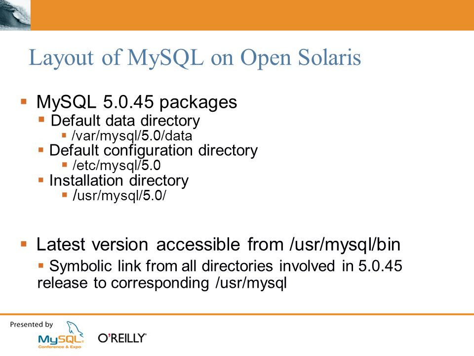 Layout of MySQL on Open Solaris MySQL 5.0.45 packages Default data directory /var/mysql/5.0/data Default configuration directory /etc/mysql/5.0 Installation directory / usr/mysql/5.0/ Latest version accessible from /usr/mysql/bin Symbolic link from all directories involved in 5.0.45 release to corresponding /usr/mysql