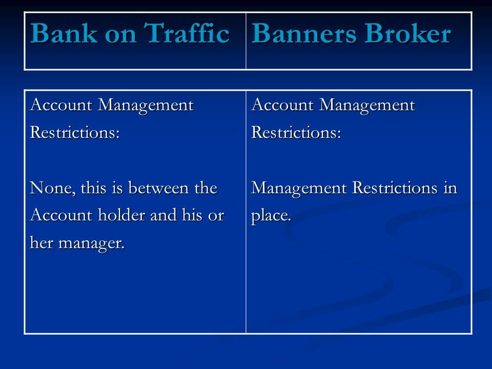 Account Management Restrictions: None, this is between the Account holder and his or her manager.