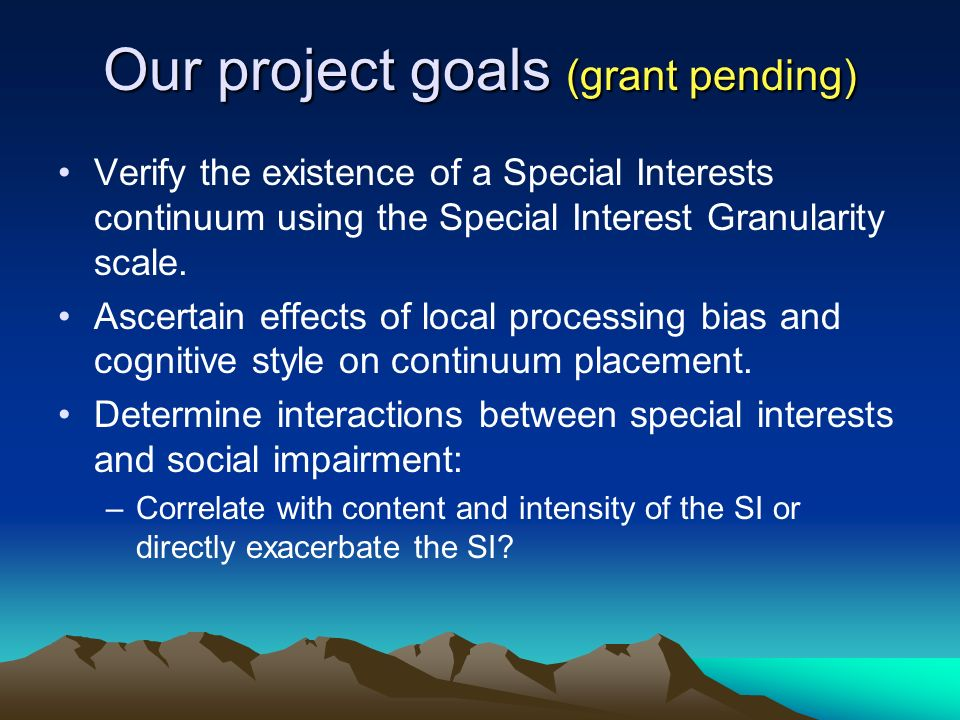 Our project goals (grant pending) Verify the existence of a Special Interests continuum using the Special Interest Granularity scale.