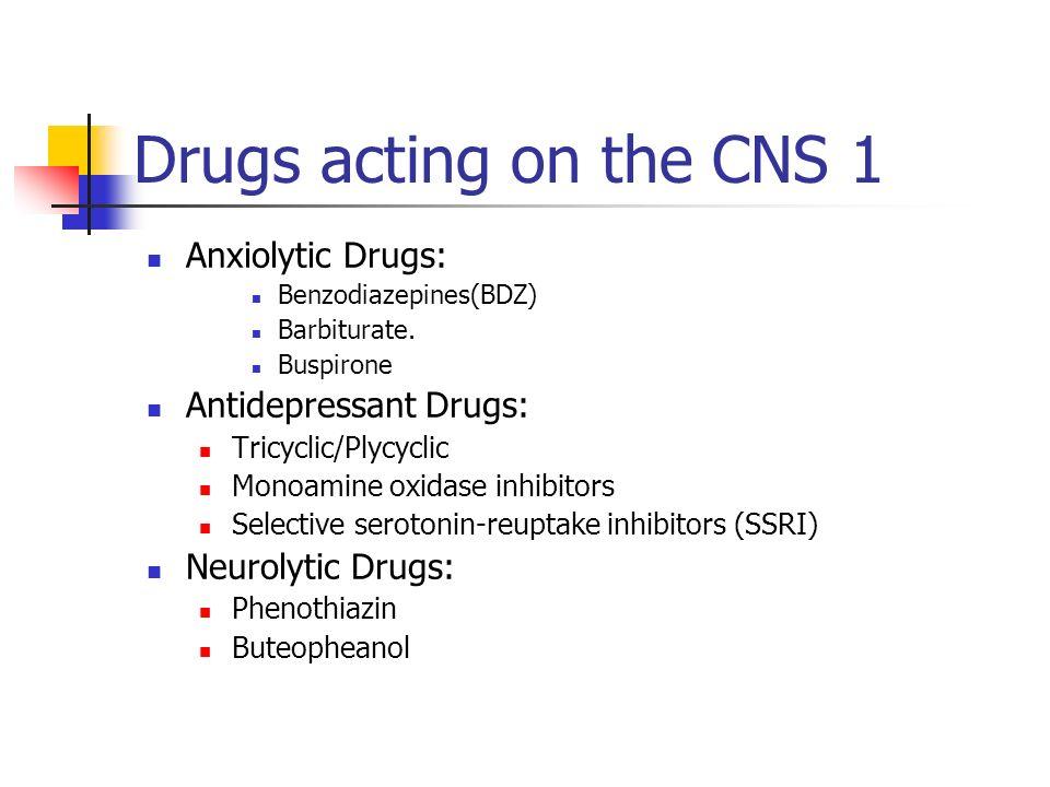 Anxiolytic Drugs: Benzodiazepines(BDZ) Barbiturate. Buspirone Antidepressant Drugs: Tricyclic/Plycyclic Monoamine oxidase inhibitors Selective seroton
