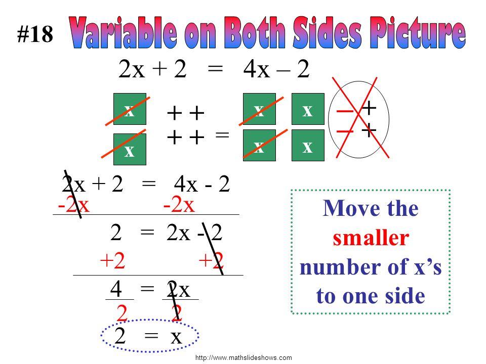 http://www.mathslideshows.com #18 + + x x x – Move the smaller number of xs to one side 2 = 2x - 2 +2 +2 4 = 2x = 2x + 2 = 4x – 2 x x 2x + 2 = 4x - 2