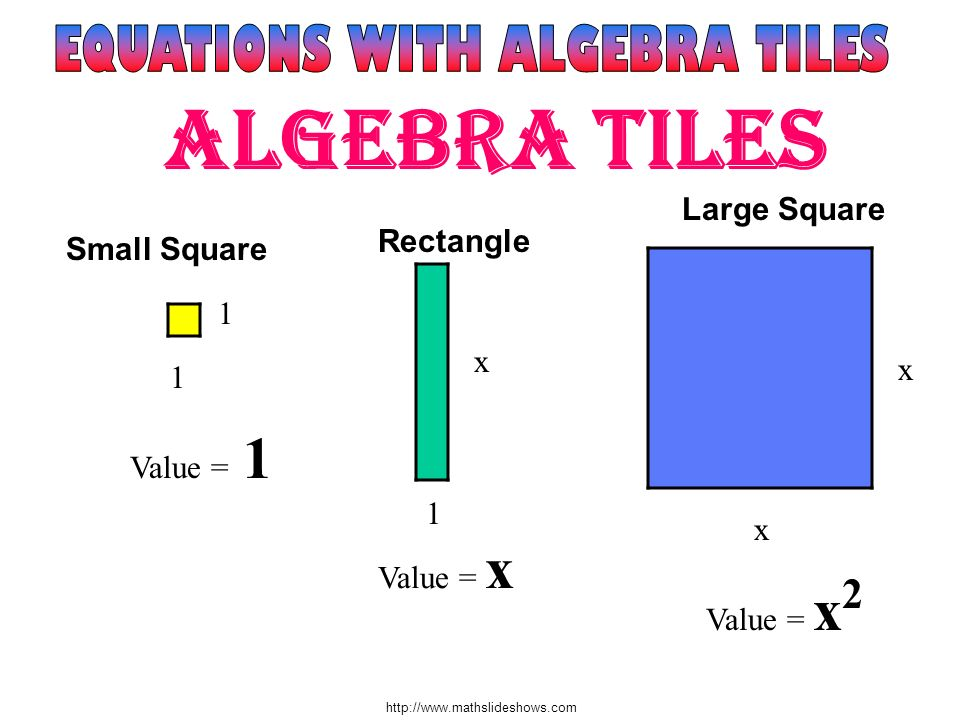 http://www.mathslideshows.com You are going to get a set of algebra tiles to use and a balance scale worksheet.