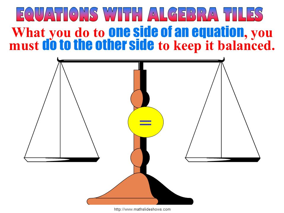 http://www.mathslideshows.com = What you do to one side of an equation, you must do to the other side to keep it balanced.