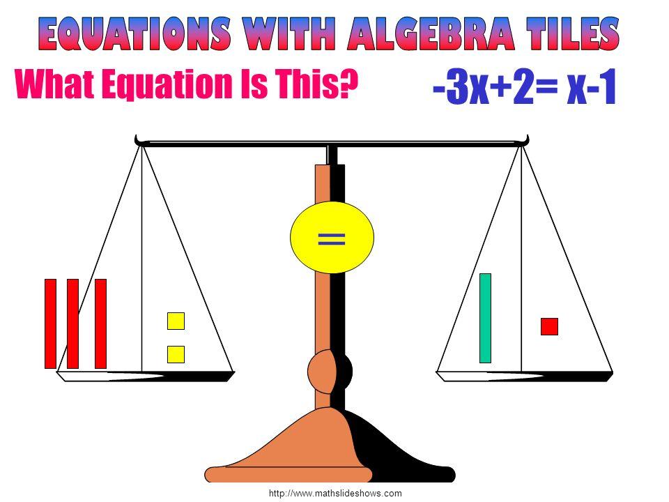 http://www.mathslideshows.com Draw problem #1 2x + 1 = x + 3 + x ++ = + Take 1x away from both sides.
