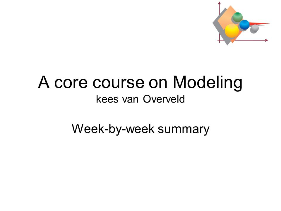A core course on Modeling kees van Overveld Week-by-week summary