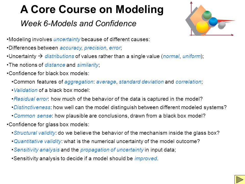 7 A Core Course on Modeling Week 6-Models and Confidence Modeling involves uncertainty because of different causes: Differences between accuracy, precision, error; Uncertainty distributions of values rather than a single value (normal, uniform); The notions of distance and similarity; Confidence for black box models: Common features of aggregation: average, standard deviation and correlation; Validation of a black box model: Residual error: how much of the behavior of the data is captured in the model.
