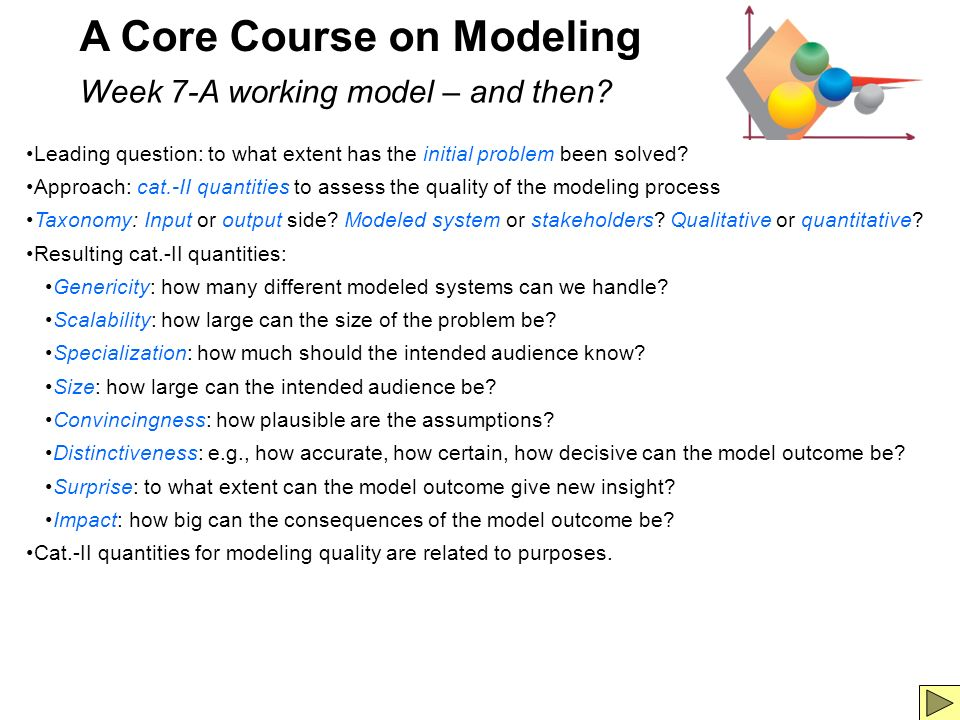 8 A Core Course on Modeling Week 7-A working model – and then.