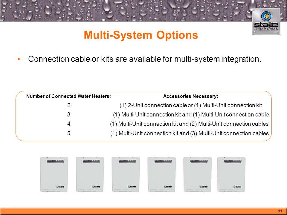Multi-System Options Number of Connected Water Heaters:Accessories Necessary: 2(1) 2-Unit connection cable or (1) Multi-Unit connection kit 3(1) Multi-Unit connection kit and (1) Multi-Unit connection cable 4 (1) Multi-Unit connection kit and (2) Multi-Unit connection cables 5(1) Multi-Unit connection kit and (3) Multi-Unit connection cables Connection cable or kits are available for multi-system integration.