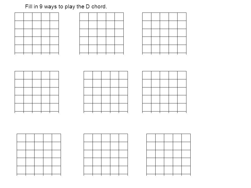 Fill in 9 ways to play the D chord.