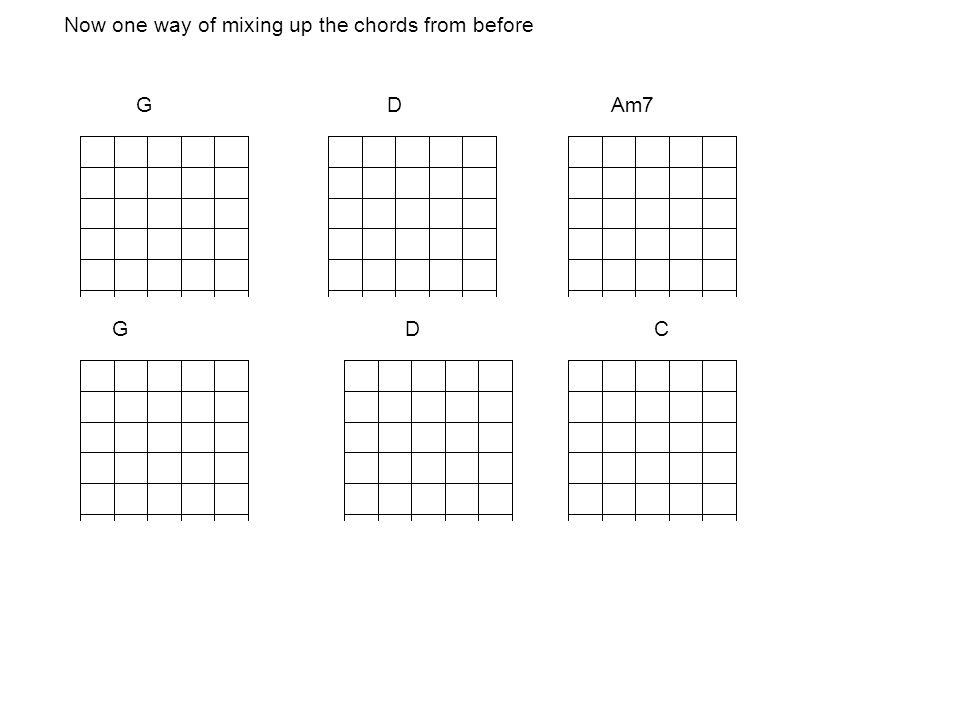 Now one way of mixing up the chords from before G D Am7 G D C