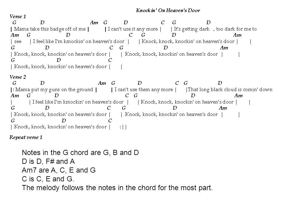 Notes in the G chord are G, B and D D is D, F# and A Am7 are A, C, E and G C is C, E and G. The melody follows the notes in the chord for the most par