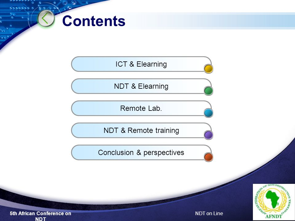 5th African Conference on NDT NDT on Line Contents ICT & Elearning NDT & Elearning Remote Lab.