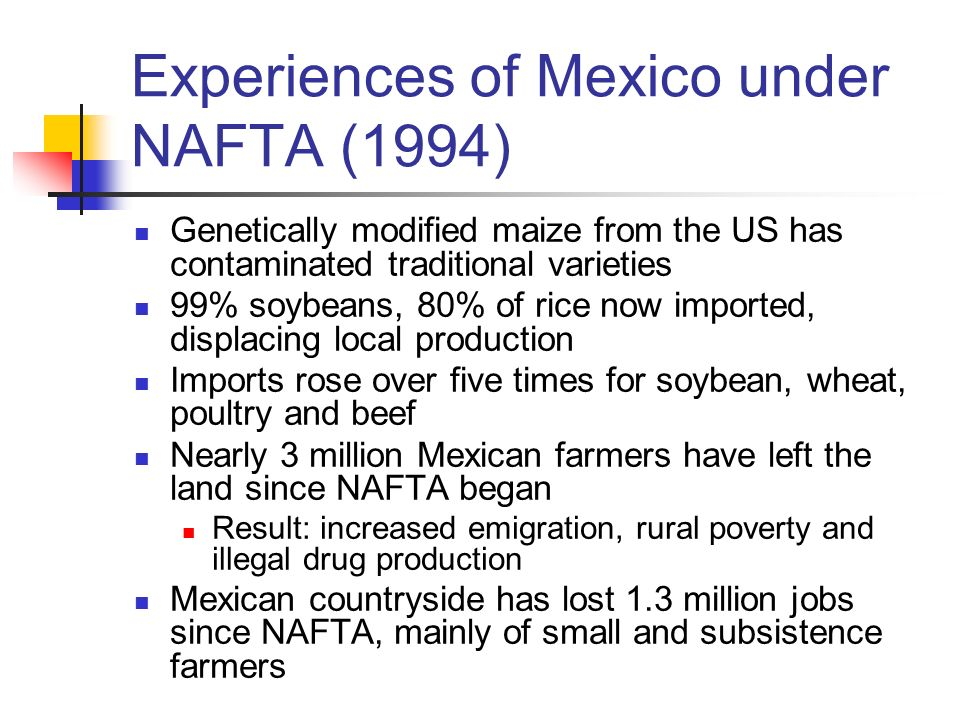 Experiences of Mexico under NAFTA (1994) Genetically modified maize from the US has contaminated traditional varieties 99% soybeans, 80% of rice now i