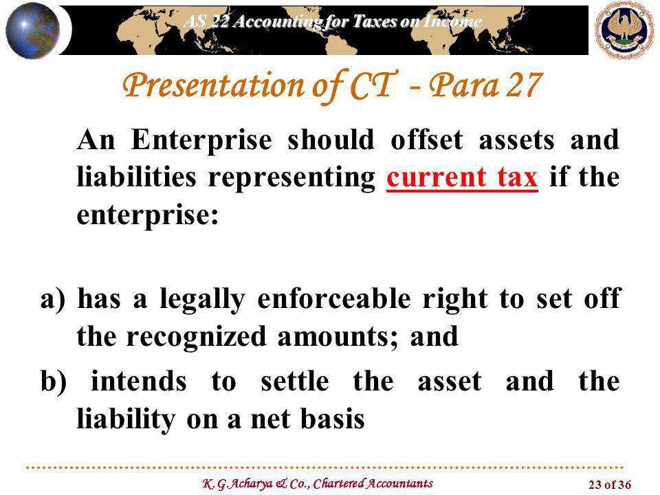 AS 22 Accounting for Taxes on Income K.G.Acharya & Co., Chartered Accountants 23 of 36 Presentation of CT - Para 27 An Enterprise should offset assets
