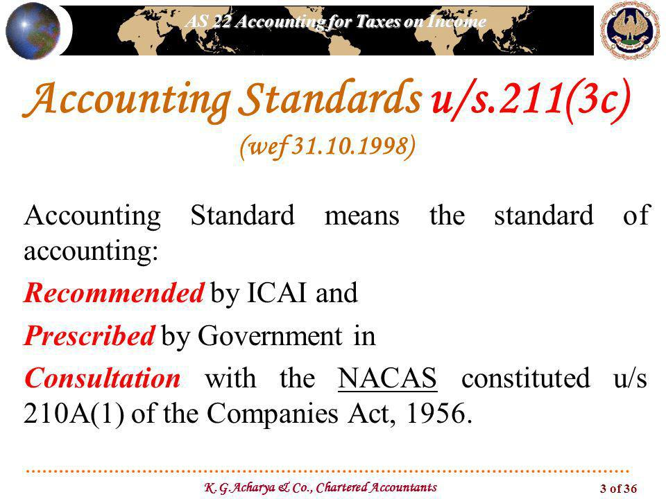 AS 22 Accounting for Taxes on Income K.G.Acharya & Co., Chartered Accountants 3 of 36 Accounting Standard means the standard of accounting: Recommende