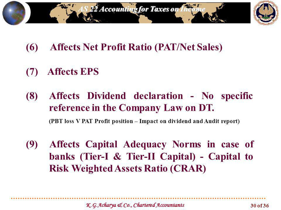 AS 22 Accounting for Taxes on Income K.G.Acharya & Co., Chartered Accountants 30 of 36 (6) Affects Net Profit Ratio (PAT/Net Sales) (7) Affects EPS (8)Affects Dividend declaration - No specific reference in the Company Law on DT.