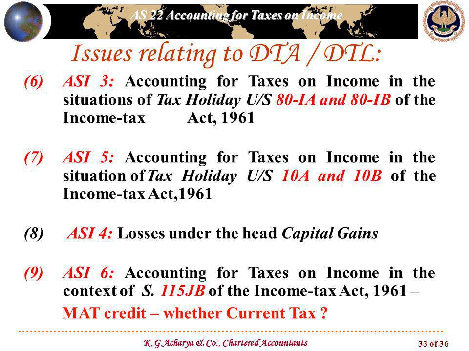 AS 22 Accounting for Taxes on Income K.G.Acharya & Co., Chartered Accountants 33 of 36 Issues relating to DTA / DTL: (6)ASI 3: Accounting for Taxes on Income in the situations of Tax Holiday U/S 80-IA and 80-IB of the Income-tax Act, 1961 (7)ASI 5: Accounting for Taxes on Income in the situation ofTax Holiday U/S 10A and 10B of the Income-tax Act,1961 (8) ASI 4: Losses under the head Capital Gains (9)ASI 6: Accounting for Taxes on Income in the context of S.
