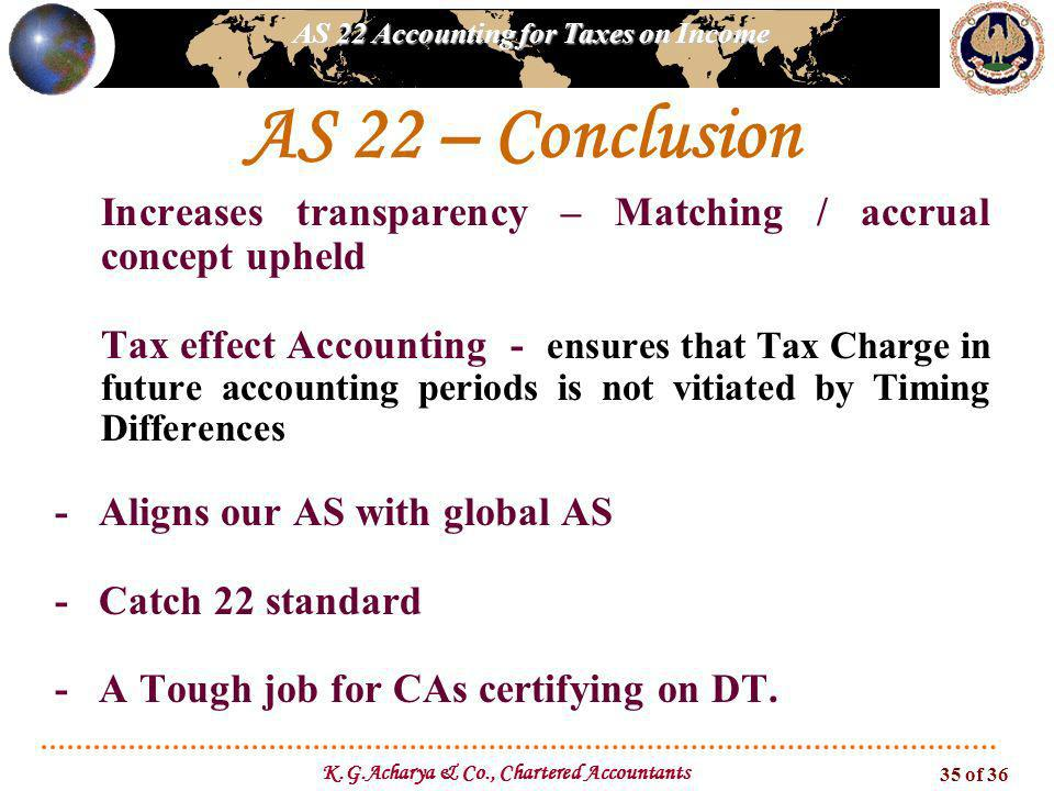 AS 22 Accounting for Taxes on Income K.G.Acharya & Co., Chartered Accountants 35 of 36 AS 22 – Conclusion -Increases transparency – Matching / accrual
