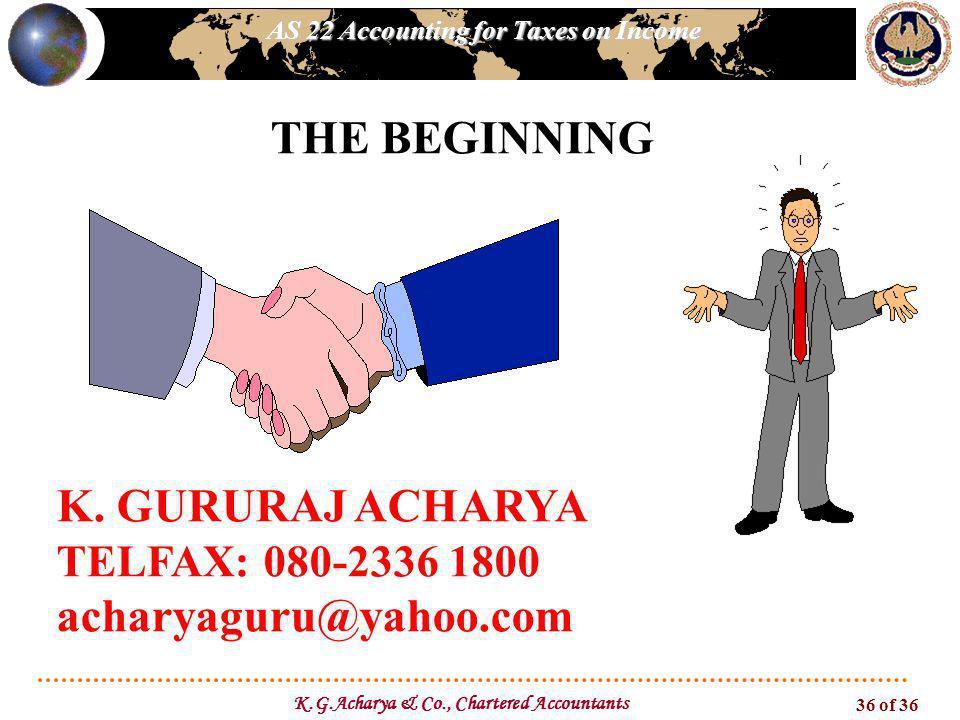 AS 22 Accounting for Taxes on Income K.G.Acharya & Co., Chartered Accountants 36 of 36 K. GURURAJ ACHARYA TELFAX: 080-2336 1800 acharyaguru@yahoo.com