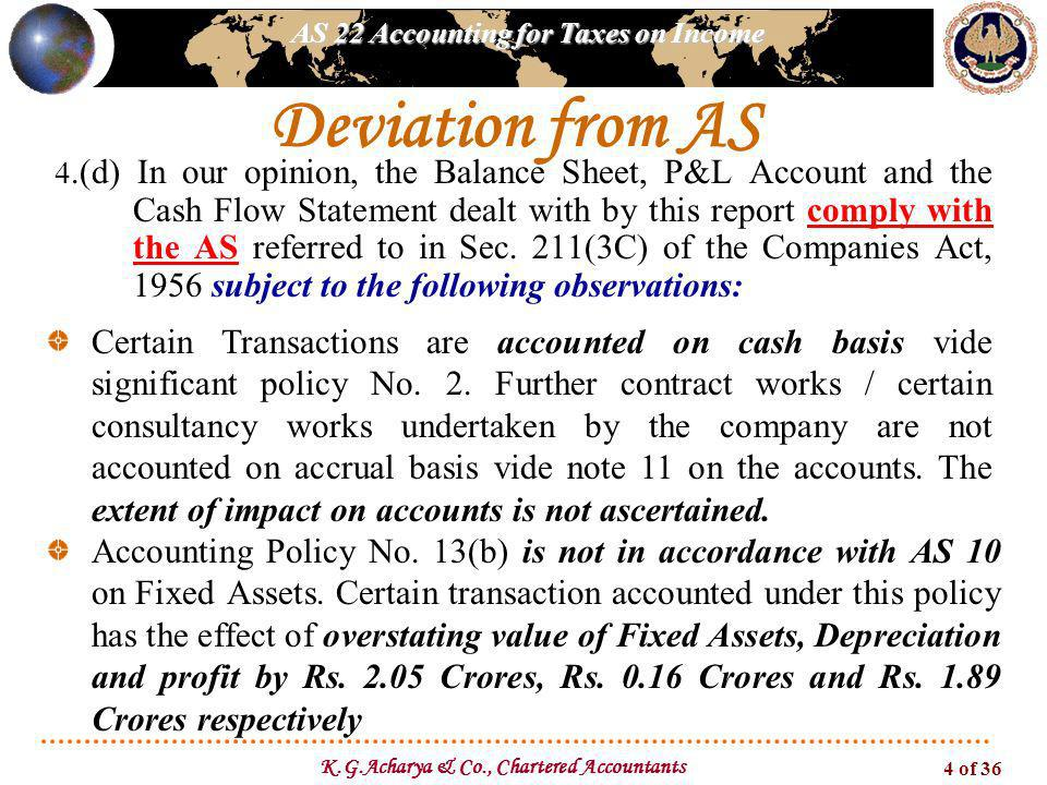 AS 22 Accounting for Taxes on Income K.G.Acharya & Co., Chartered Accountants 4 of 36 Deviation from AS 4.(d) In our opinion, the Balance Sheet, P&L Account and the Cash Flow Statement dealt with by this report comply with the AS referred to in Sec.