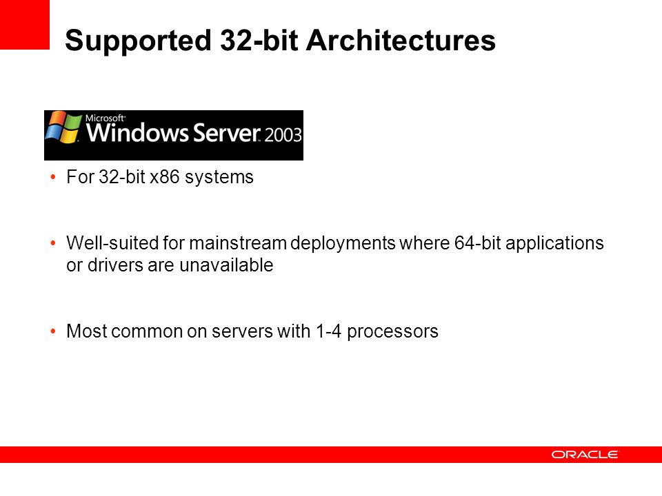 Supported 32-bit Architectures For 32-bit x86 systems Well-suited for mainstream deployments where 64-bit applications or drivers are unavailable Most