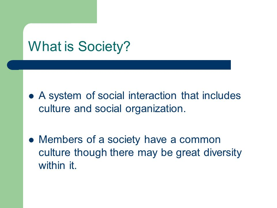 What is Society? A system of social interaction that includes culture and social organization. Members of a society have a common culture though there