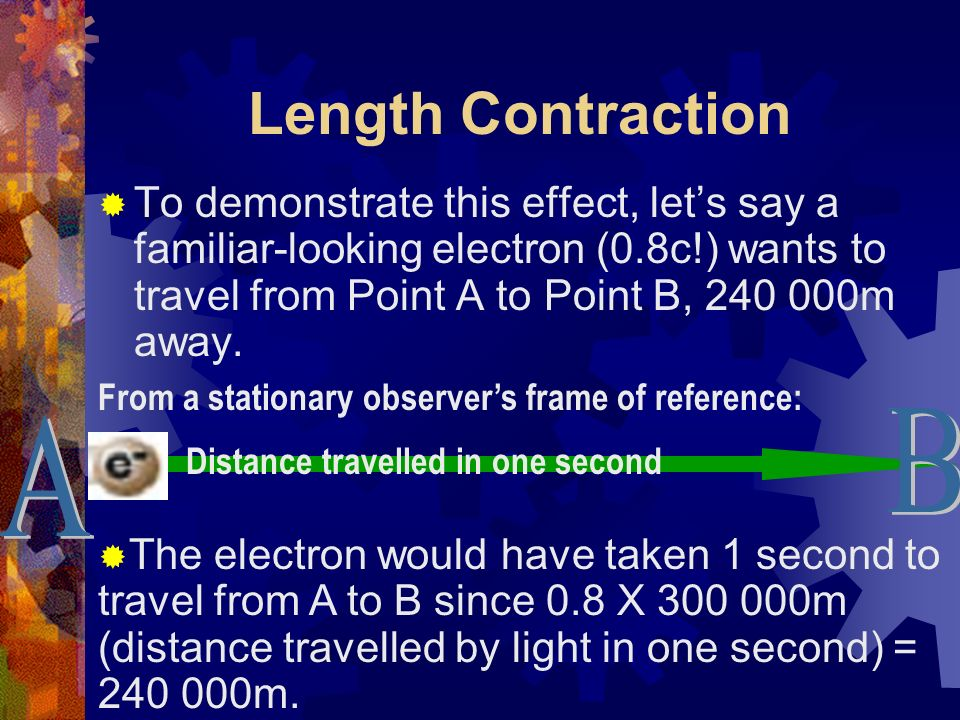 Length Contraction The length contraction effect: The faster an object travels, the shorter it appears to be to an observer at rest.